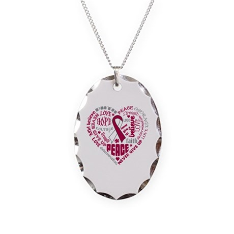 Throat Cancer Heart Words Necklace Oval Charm