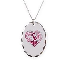 Throat Cancer Heart Words Necklace