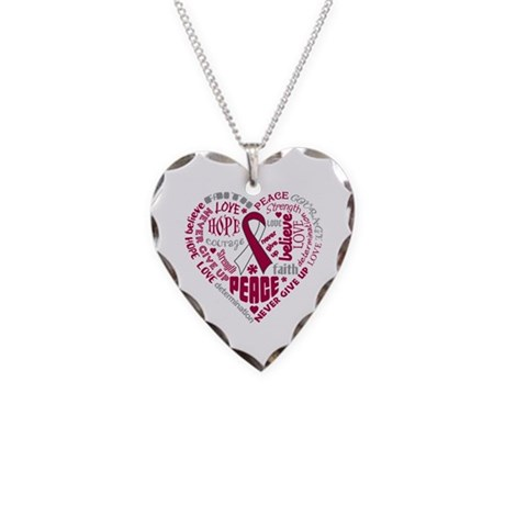 Throat Cancer Heart Words Necklace Heart Charm