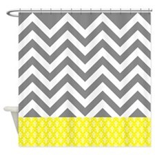 Gray Chevrons and yellow damask pattern Shower Cur