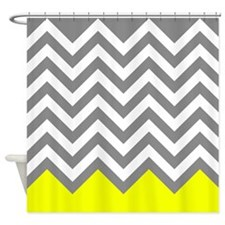 Gray and Yellow Chevrons Shower Curtain