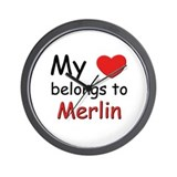 My heart belongs to merlin Wall Clock