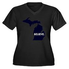 Believe in M Women's Plus Size Dark V-Neck T-Shirt