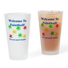 Paintball Broke Blue Drinking Glass