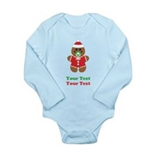Personalize Gingerbread Santa Baby Long Sleeve Inf