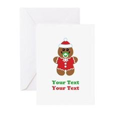 Personalize Gingerbread Santa Baby Greeting Cards
