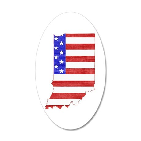 Indiana Flag 20x12 Oval Wall Decal
