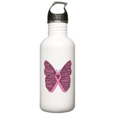 Butterfly Breast Cancer Ribbon Water Bottle