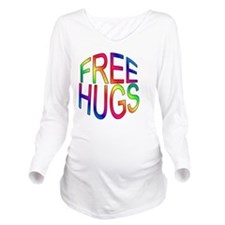 3inbutton--freehugs- Long Sleeve Maternity T-Shirt