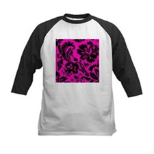 Hot Pink and Black Damask Baseball Jersey