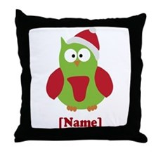 Personalized Christmas Owl Throw Pillow