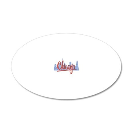CHICAGO-RED 20x12 Oval Wall Decal