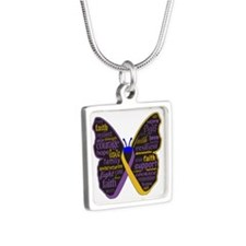 Butterfly Bladder Cancer Ribbon Silver Square Neck