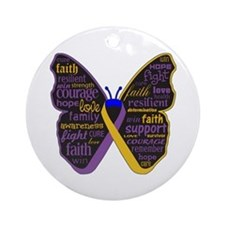 Butterfly Bladder Cancer Ribbon Ornament (Round)