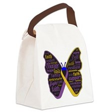 Butterfly Bladder Cancer Ribbon Canvas Lunch Bag