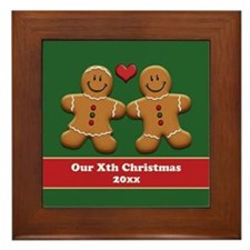 Personalize Gingerbread Couple Framed Tile