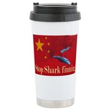 shark finning tee shirt Ceramic Travel Mug