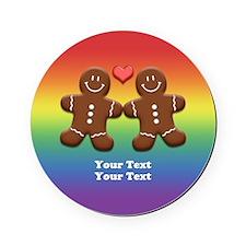 Personalize Gingerbread Men Couple Rainbow Cork Coaster