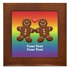 Personalize Gingerbread Men Couple Rainbow Framed