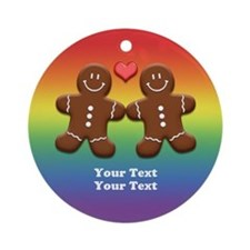 Personalize Gingerbread Men Couple Rainbow Ornamen
