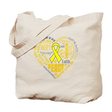 Testicular Cancer Heart Words Tote Bag