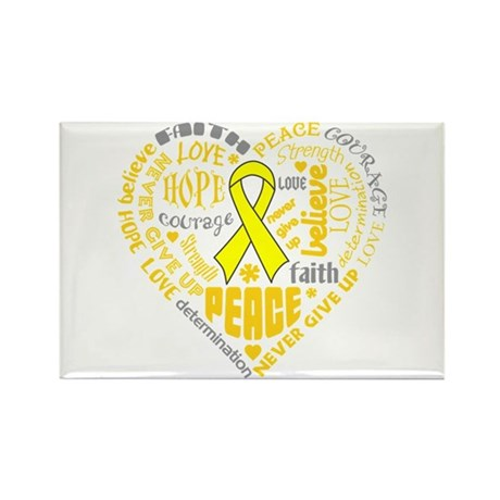Testicular Cancer Heart Words Rectangle Magnet