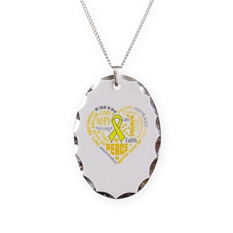 Testicular Cancer Heart Words Necklace Oval Charm