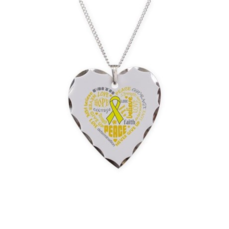 Testicular Cancer Heart Words Necklace Heart Charm