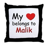 My heart belongs to malik Throw Pillow