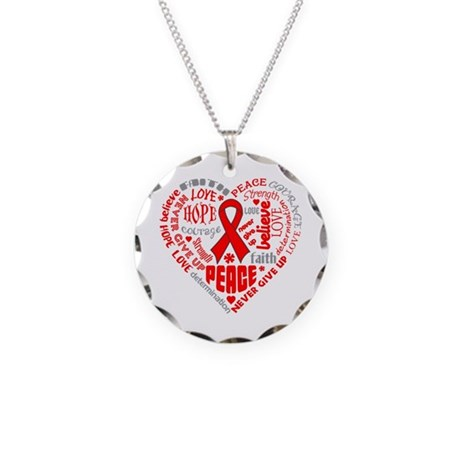 Stroke Heart Words Necklace Circle Charm