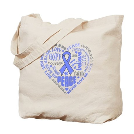 Stomach Cancer Heart Words Tote Bag