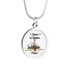 Personalized 1st Christmas Silver Round Necklace