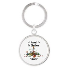 Personalized 1st Christmas Round Keychain