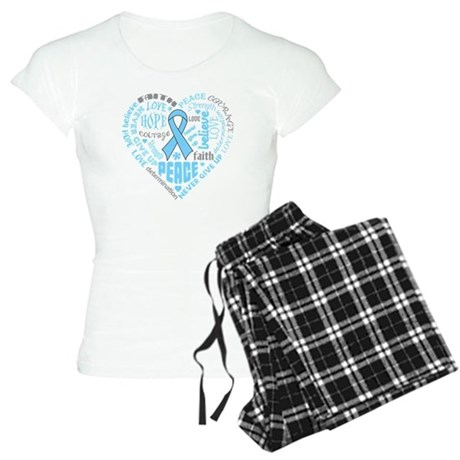 Prostate Cancer Heart Words Women's Light Pajamas