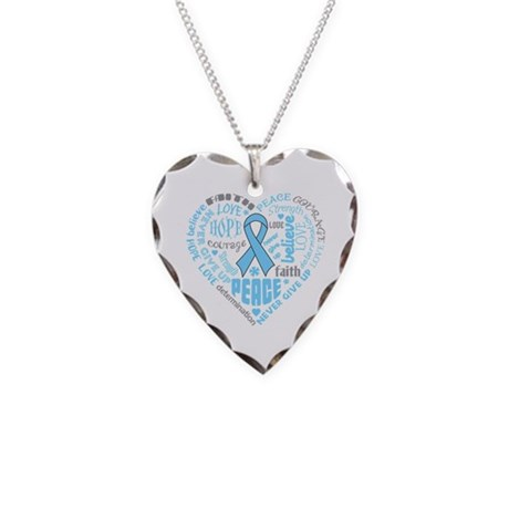 Prostate Cancer Heart Words Necklace Heart Charm
