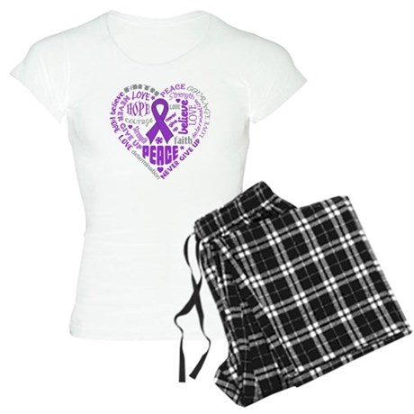 Pancreatic Cancer Heart Words Women's Light Pajama