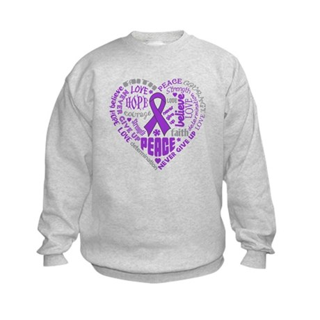 Pancreatic Cancer Heart Words Kids Sweatshirt