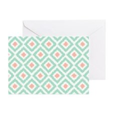 Mint Coral Ikat Greeting Cards (Pk Of 20)