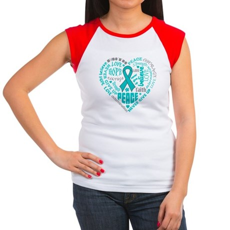 Ovarian Cancer Heart Words Women's Cap Sleeve T-Sh