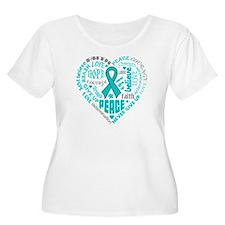 Ovarian Cancer Heart Words T-Shirt