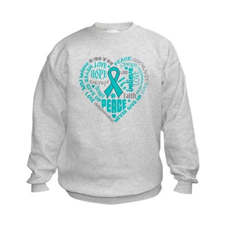 Ovarian Cancer Heart Words Kids Sweatshirt