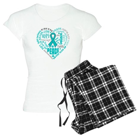 Ovarian Cancer Heart Words Women's Light Pajamas