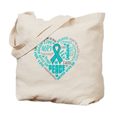 Ovarian Cancer Heart Words Tote Bag