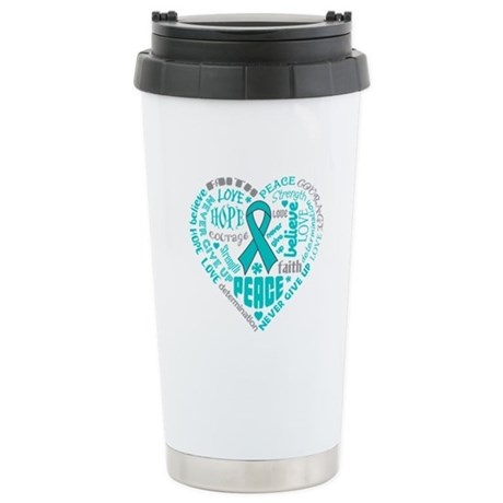 Ovarian Cancer Heart Words Ceramic Travel Mug