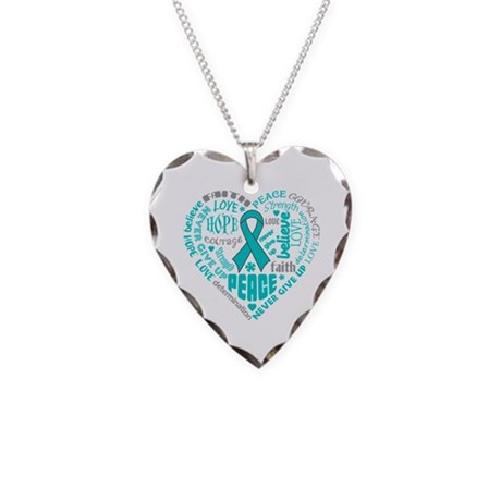 Ovarian Cancer Heart Words Necklace Heart Charm
