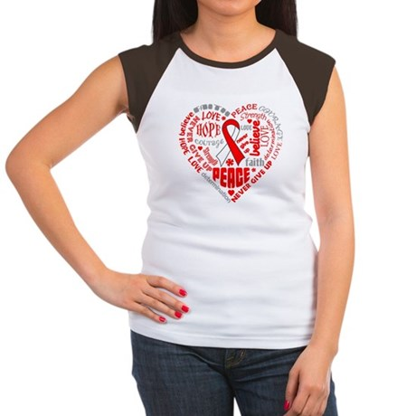 Oral Cancer Heart Words Women's Cap Sleeve T-Shirt