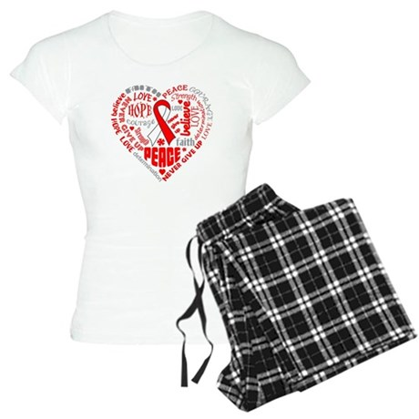 Oral Cancer Heart Words Women's Light Pajamas