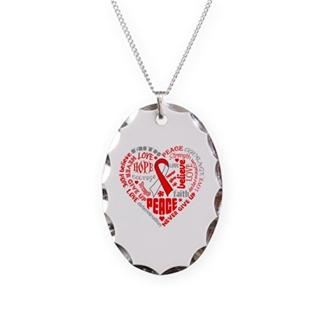 Oral Cancer Heart Words Necklace Oval Charm