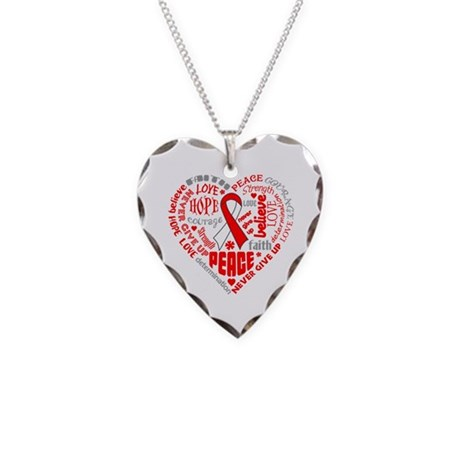 Oral Cancer Heart Words Necklace Heart Charm
