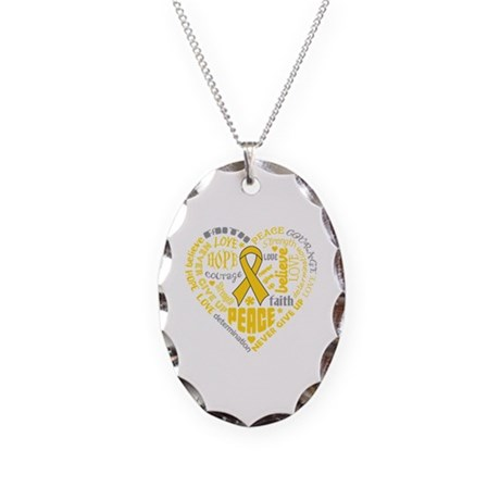 Neuroblastoma Heart Words Necklace Oval Charm